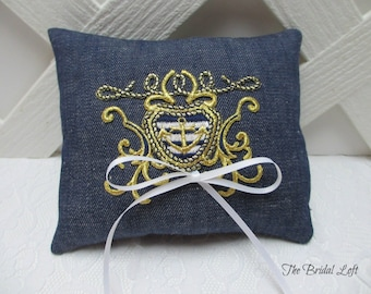 Nautical Wedding Ring Pillow, Anchor Ring Bearer Pillow, Nautical Wedding Decor, Navy Blue White and Gold Ring Pillow, Ready to Ship