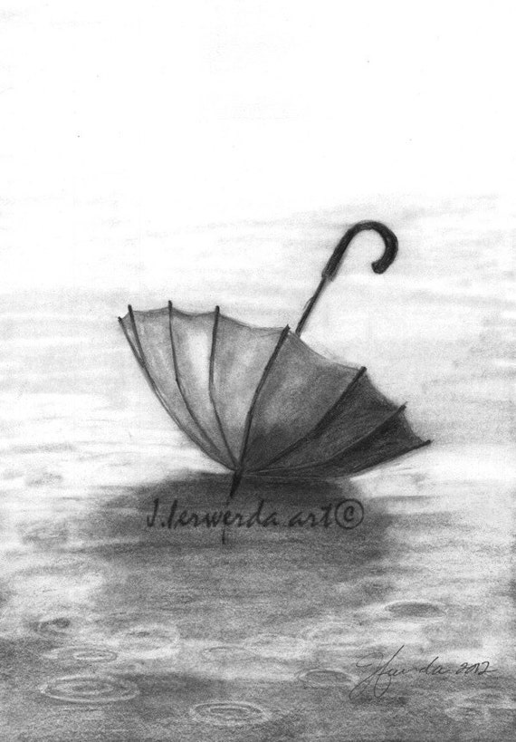 Raindrop Pencil Drawing Pencil Drawing Print Enjoy