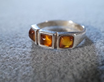 Vintage Sterling Silver 3 Square Amber Fancy Wedding Band Ring, Size 7.5