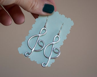 Violin Key handmade earrings, with wire treble clef, for music lovers