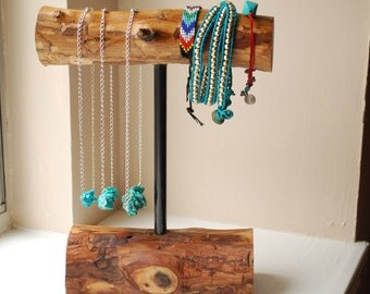 Wooden Necklace/Bracelet Holder- Medium Display Stand- Home Decor- Rustic Jewelry Stand