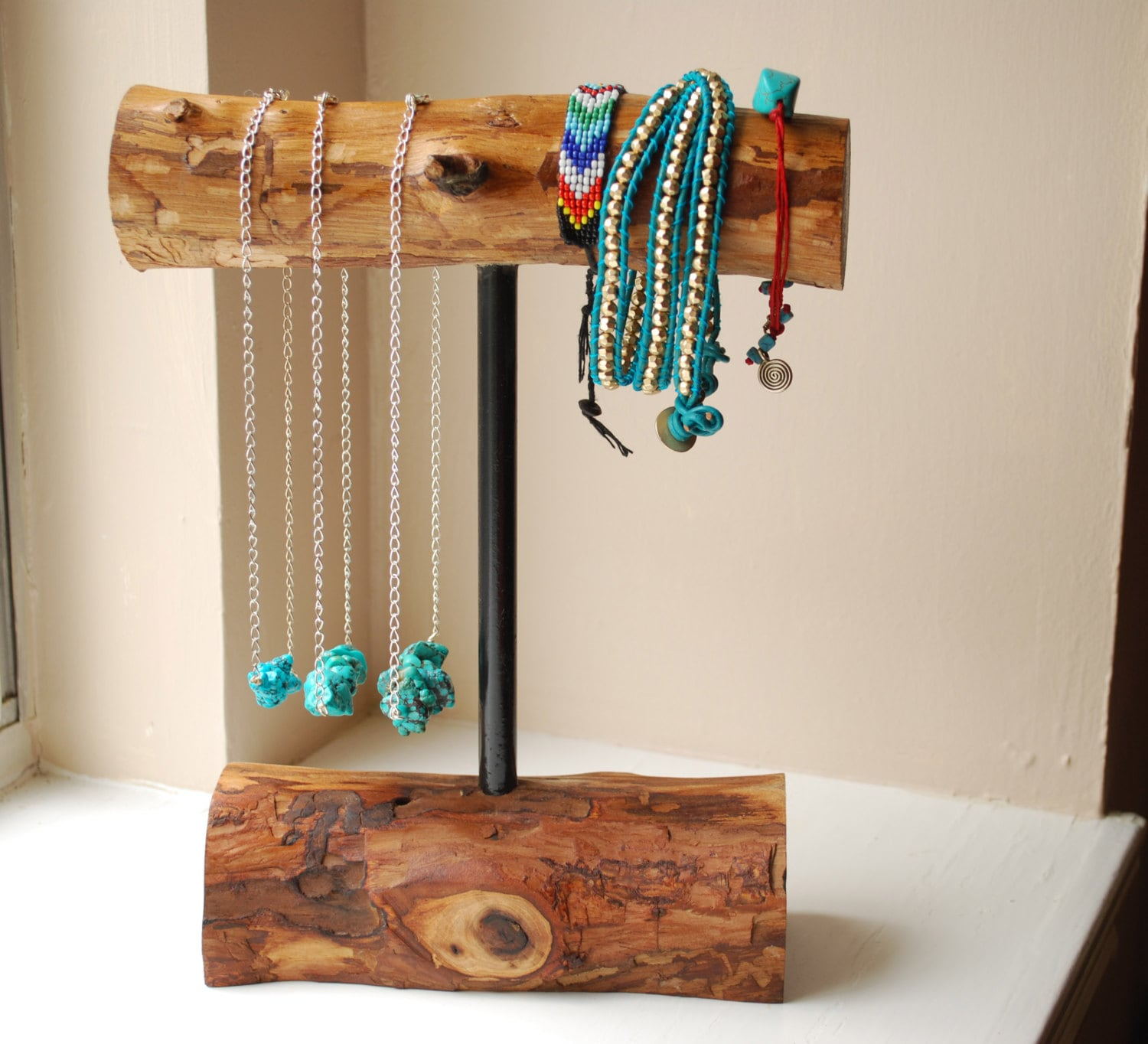 Wooden necklace bracelet holder medium display stand home
