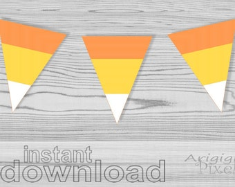 Sweet Candy Corn Printable Halloween Banner, DIY Party Decoration, triangles Candy Corn download