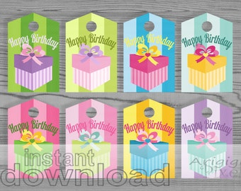Happy Birthday Tags, Colorful Gift Tags, Printable Gift Wrapping Labels, Spring Candy Colors, Gift Tags Download