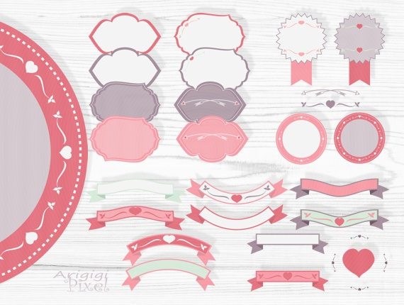 pink retro frames and text dividers clipart set for Valentine cards, wedding invitations, decorative clipart download