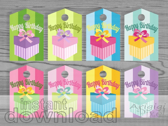 Happy Birthday Colorful Gift Tags, Printable Gift Wrap Label, Spring Candy Colors, Instant Download