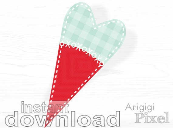 Gingham hearts clip art set with digital stitches XOXO, folk hearts clipart scrapbooking, for stationery and banners