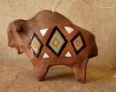 Handcrafted Ceramic Buffalo Ornament- Navajo, Native American Art, Southwest