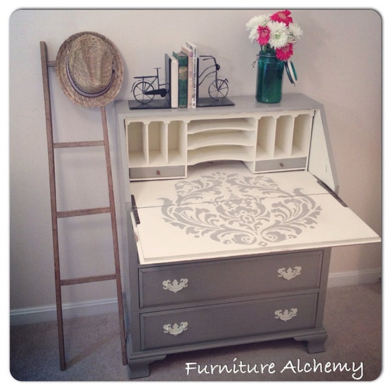 chalk painted french linen and old white secretary desk with. Black Bedroom Furniture Sets. Home Design Ideas