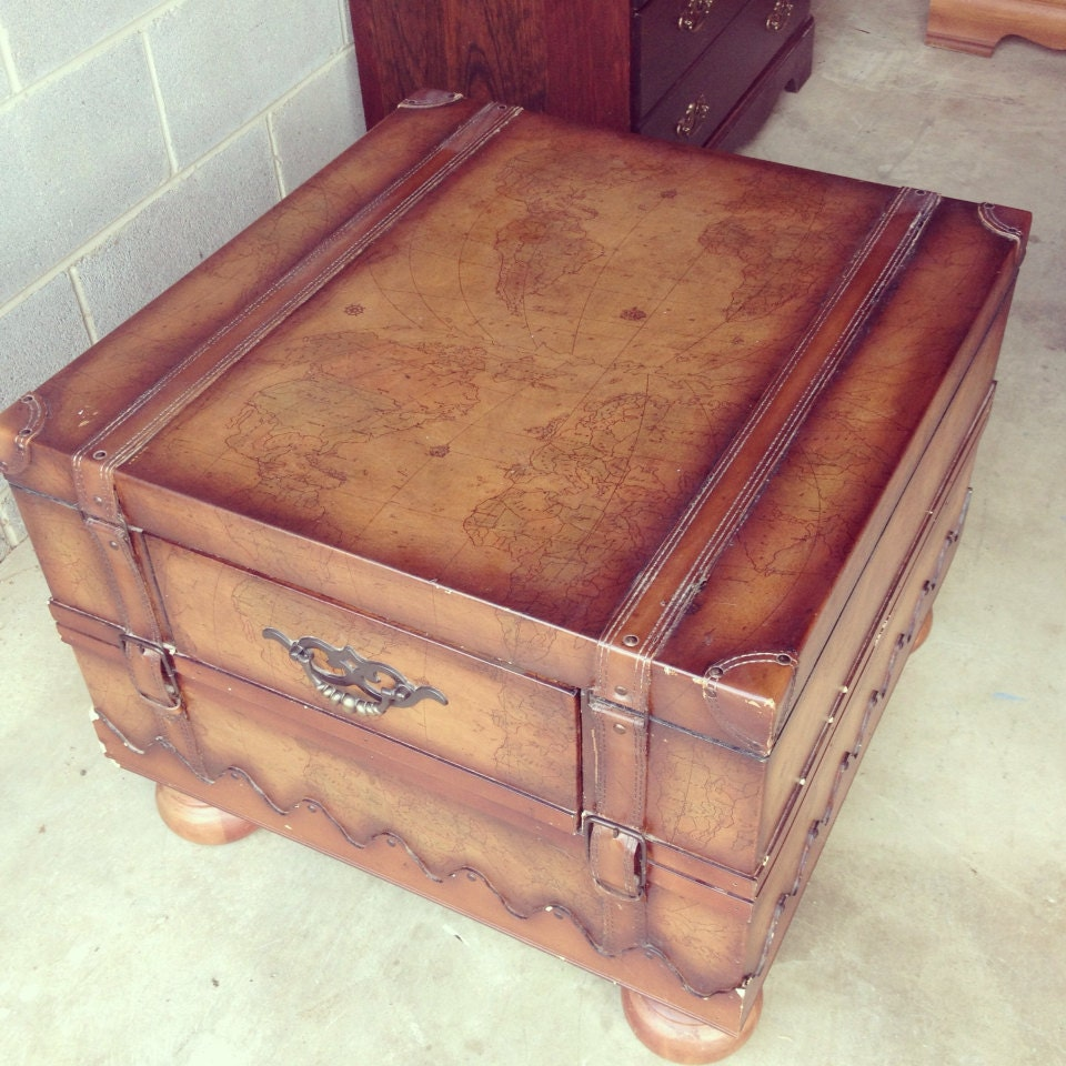 On Hold Old World Map Trunk Coffee Table Rustic End Table
