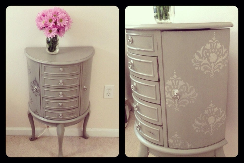 Chic French Grey Jewelry Armoire Dresser Chalk Painted