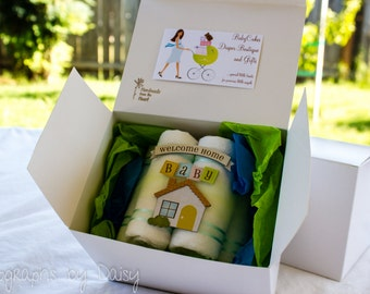 Welcome Home Baby, Diaper Cake, Gift Box