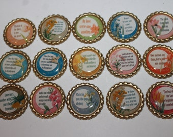 Christian Scripture & Flowral Geocache Coin bottle caps - 15 Piece Set - Great Way To Witness