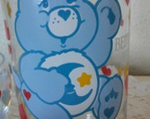 Vintage Care Bears Bedtime Bear Glass & Bowl By American Greetings Corp. 1985