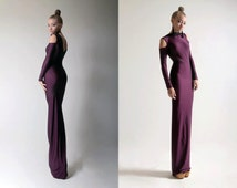 Plum Cold Shoulder Sheath Body Con Maxi Dress