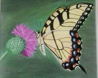 Acrylic on Canvas - Butterfly on Clover
