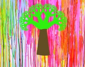 Limited Edition Giclee Print Abstract drip  art rainbow tree vibrant pink red green brown - wholenewworldart