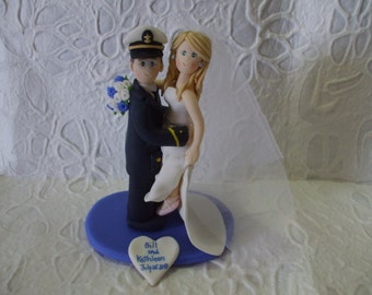 Personalized guard cost groom and ballerina bride themed Wedding Cake Topper
