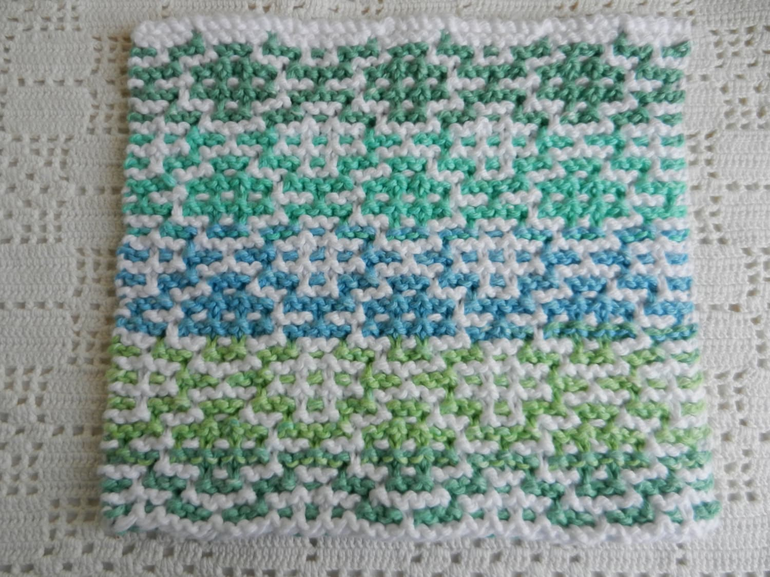 Knitted Spa Cloth, Shades of Blue and Green Stripes w/ White ...