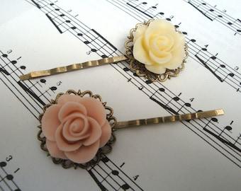Rose bobby pins hair grip set - cream & antique pink on vintage inspired bronze filigree
