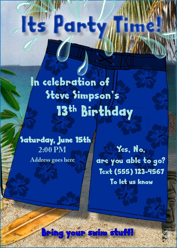 Items Similar To Teen Boy Swim Party Birthday Invitations