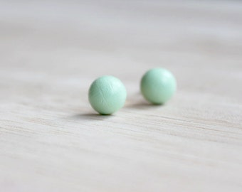 bright mint green wooden earring studs // tiny wood post button earrings - everyday jewelry, eco-friendly jewelry, pastel stud earrings