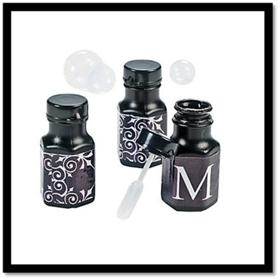 Black & White Personalized Monogram Wedding Mini Bubble Bottles 48 Bottles Per Set