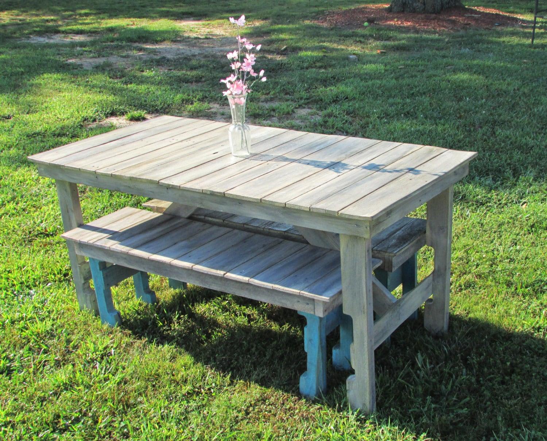 6 39 Shabby Chic Dining Table Bench Set Coastal Cottage