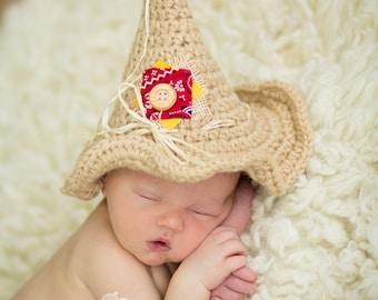 Crochet baby scarecrow hat photo prop - Newborn - 12mo - Custom made to order