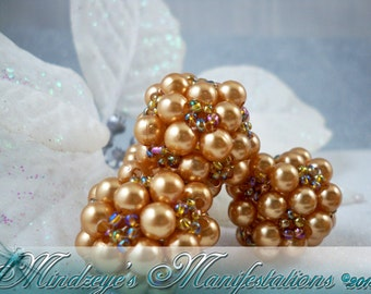 Golden Pearl & Seed Bead Cluster Beads 25mm