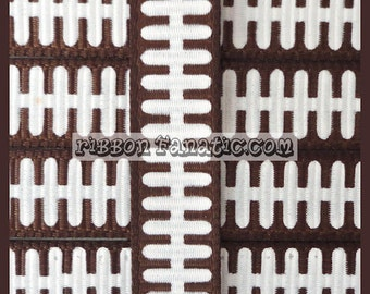 """10 yds 3/8"""" Football Laces Stitches Grosgrain Ribbon Brown and White"""
