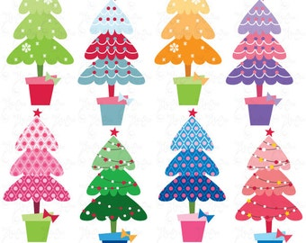 """Christmas ClipArt """"CHRISTMAS TREE PATTERN""""clip art,Colorful Christmas Tree,Christmas Decoration,perfect for Scrapbook,Cards,InvitationsCm023"""