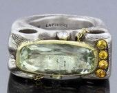 ALEN LAPIERRE-18K & SS Green Citrine Ring with Diamonda  Orange Sapphires