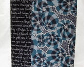 Blue, Black, and Yellow Fabric Cover for Moleskine Cahier Journal, OOAK