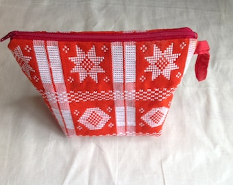 Red and white custom cosmetic bag