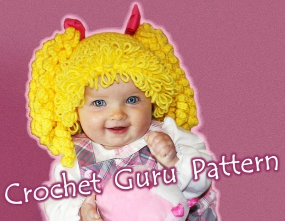 Crochet Pattern For Cabbage Patch Baby Hat : Crochet Cabbage Patch Kid Inspired Hat Pattern 6 Sizes