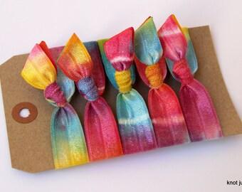 Rainbow Tie Dye elastic ribbon hair ties ponytail, gentle hair ties, hippie, festival, hair accessories, 60's, 70's, retro, headbands