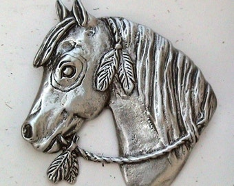 Indian Pony Pin / Brooch cast in High Quality Pewter