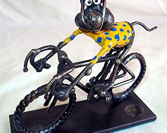 Cycling Mouse in Cycling Outfit Steel Sculpture
