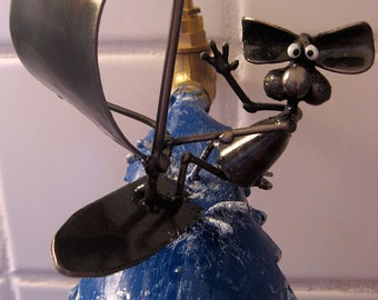 Windsurfing Mouse Sculpture made from Recycled Metals