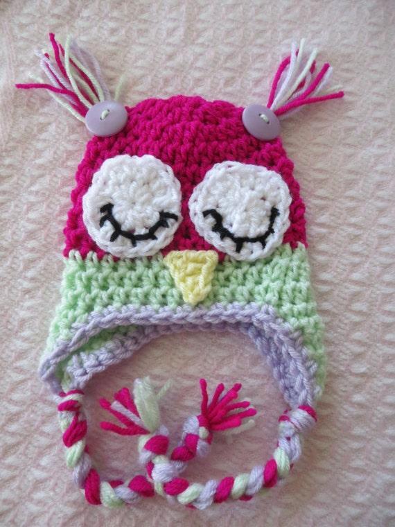 SLEEPY OWL Hat Crochet Owl Hat Preemie / by ...