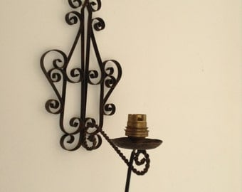Wrought iron vintage 1950's light fitting