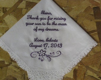Mother of Groom handkerchief personalized from Bride for wedding gift - Gift for new Mother in Law