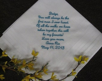 Wedding gift for Father of The Bride Handkerchief - Hanky - first man I loved - Bridal Wedding gift for Dad