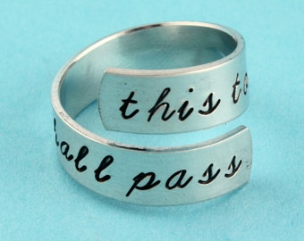 This Too Shall Pass Ring - Adjustable Ring - Twist Ring - Inspirational Ring - Silver Ring - Wrap Ring - Gone With The Wind Ring