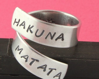 SALE - HAKUNA MATATA Wrap Twist Ring with Star on Inside - Adjustable Aluminum Ring - Handstamped Ring