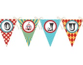 Vintage Look Carnival Circus Birthday Banner with Any Wording - Printable