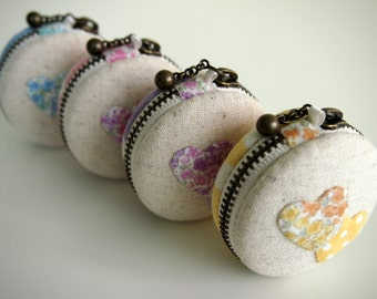 5cm,  Macaron Jewelry Pouch/ Macaroon/ Coin Purse -  Applique Hearts, blue/pink/purple/yellow- Handmade in Japan by Chikaberry