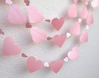 Pink Heart Garland, Paper Heart Garland, Birthday Party, Wedding Garland, Bridal Shower Decor, Photo Prop, Romantic Garland
