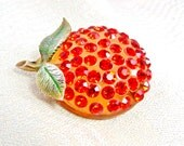 Forbidden Fruit Orange Rhinestone Brooch